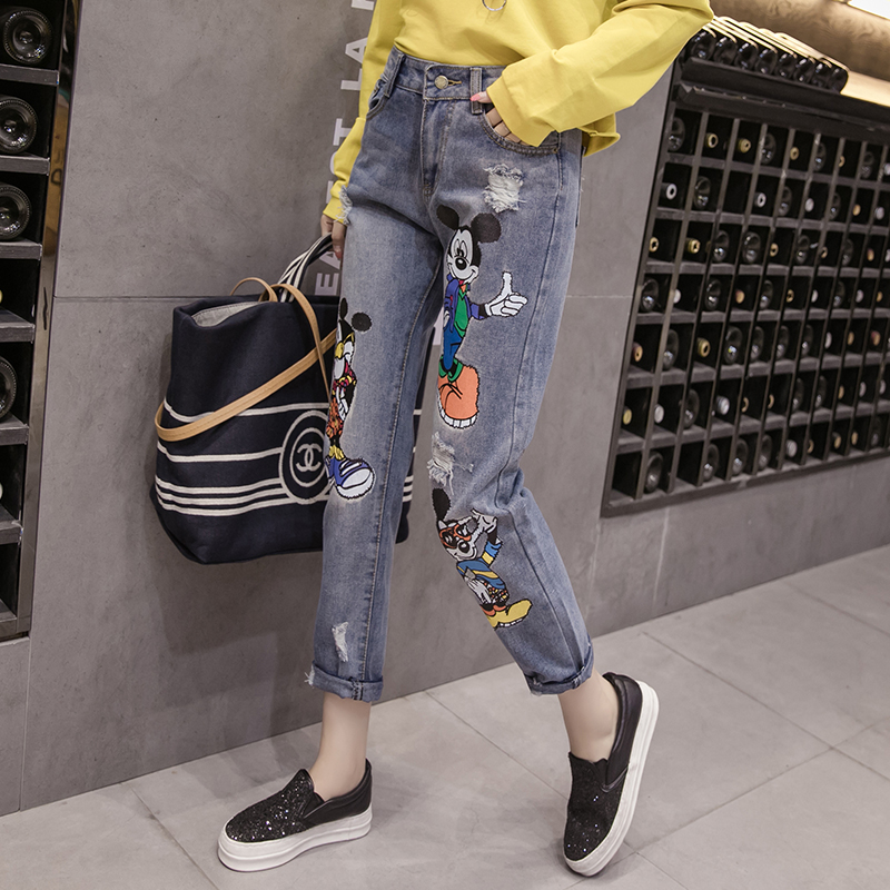 Jeans Mouse Embroidery Long-Pants Blue Sexy High-Waist Plus-Size Summer Women Ladies
