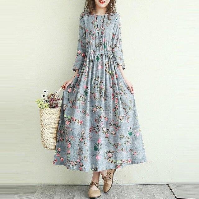 Women Cotton Linen Casual Dress New Arrival 2021 Summer Vintage Style Floral Print Ladies Elegant A-line Long Dresses T001 3