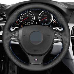 Para BMW M F10 F11 F07 M5 F10 2011-2013 F12 F13 F06 F01 F02 mano-negro de punto de cuero genuino protector para volante de coche