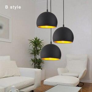 Image 3 - Simple Ball จี้ 20 ซม.25 ซม.สีดำและสีขาว E27 จี้โคมไฟร้านอาหารแสงสว่าง