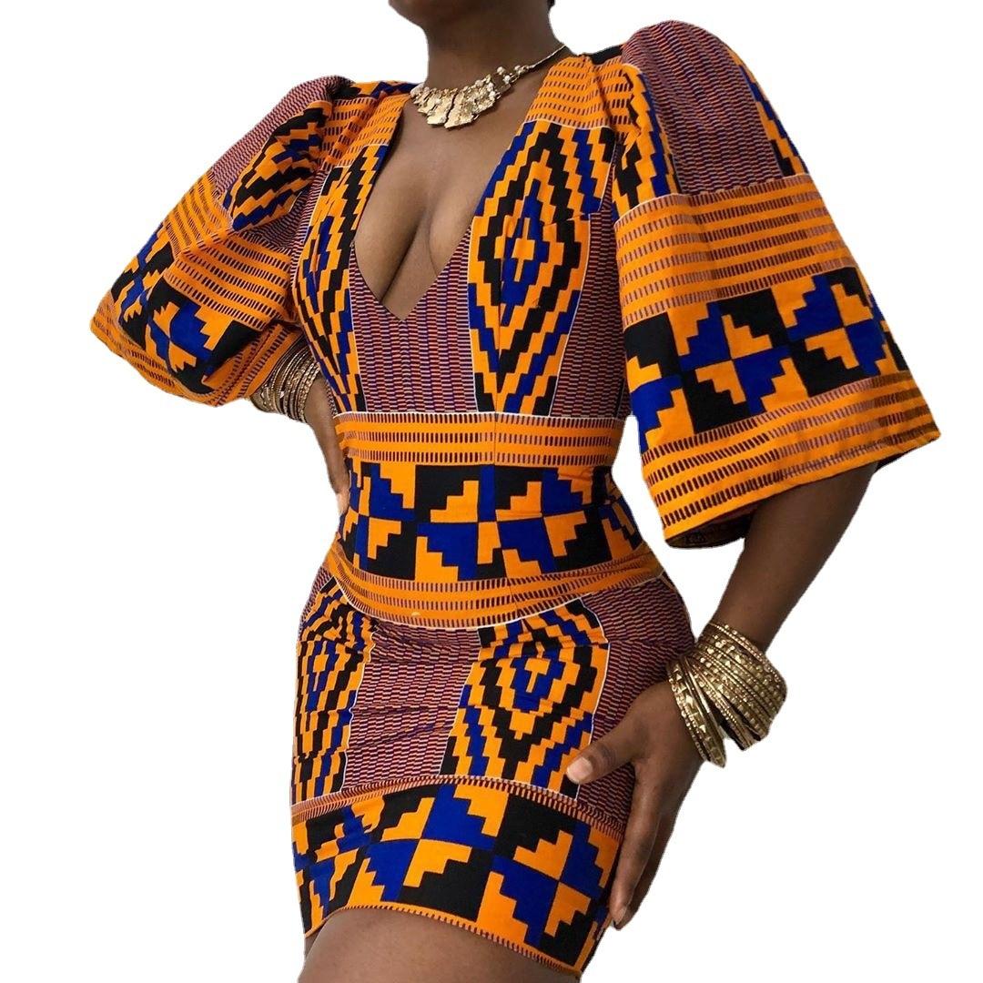 African Short Sleeve Printing Dress 3