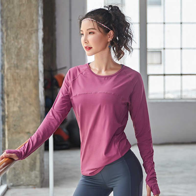 Damski bez szwu z długim rękawem krótki top koszulki do jogi z otworem na kciuk Running Fitness Gym Workout jednolity top koszule