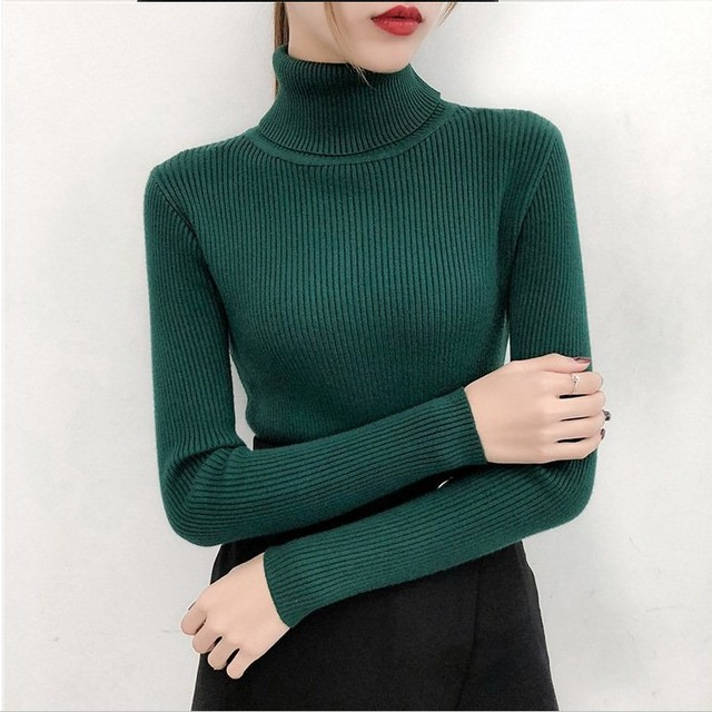 Bonjean Autumn Winter Knitted Jumper Tops turtleneck Pullovers Casual Sweaters Women Shirt Long Sleeve Tight Sweater Girls 4