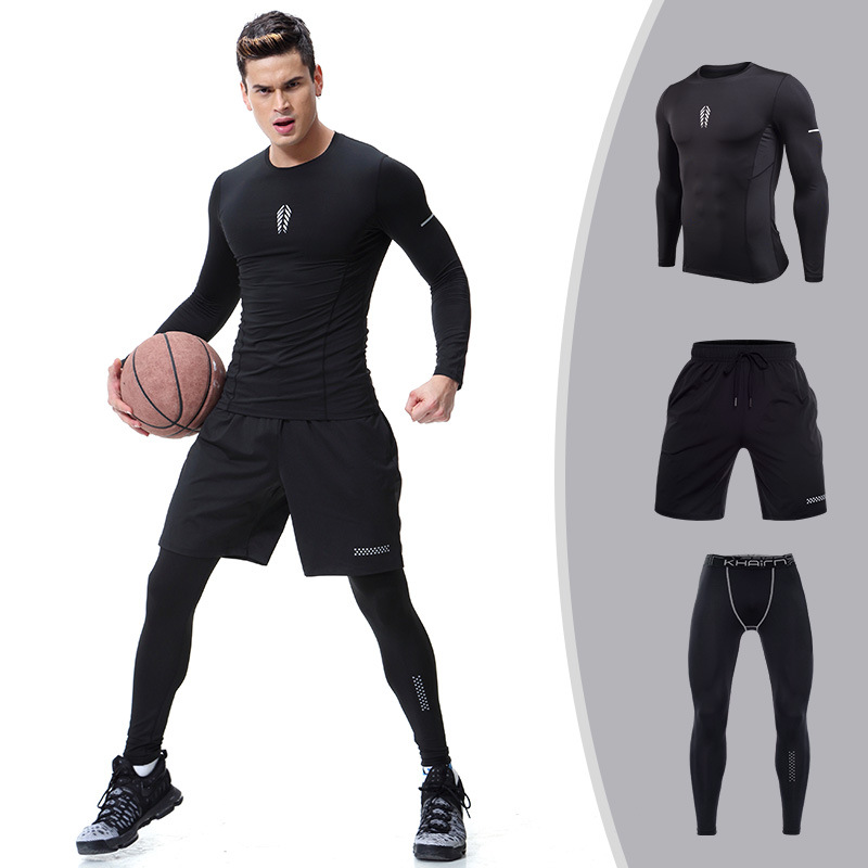 Sports Set Men's For Basketball Training Long Sleeve Fitness Suit Three-piece Set Compression Tight-Fit Quick Drying Clothes Jog