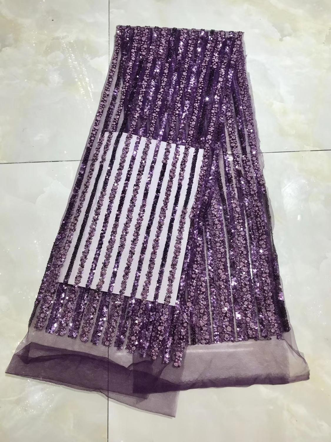 Sequin Lace 2020 High Quality Nigerian Lace Fabric Latest Lace Fabric Luxury Sequin Purple Lace Fabric For Wedding Dresse