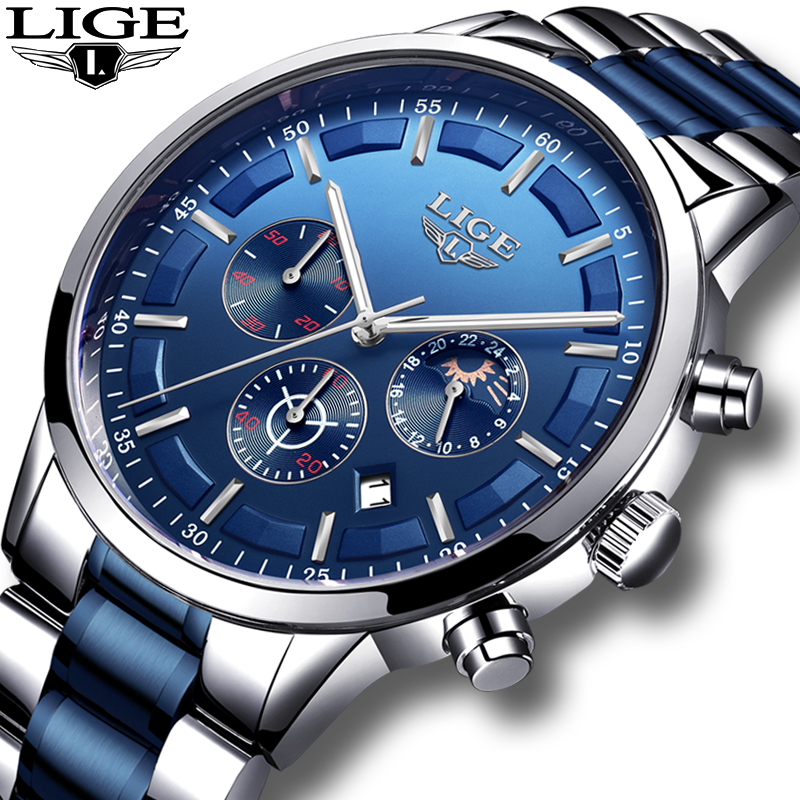 Relogio Masculino 2020 LIGE New Fashion Mens Watches Top Brand Luxury Wateprproof Clock Silver Steel Big Dial Sport Chronograph