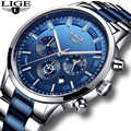 Relogio Masculino 2020 LIGE New Fashion Mens Watches Top Brand Luxury Wateprproof Clock Silver Steel Big Dial Sport Chronograph