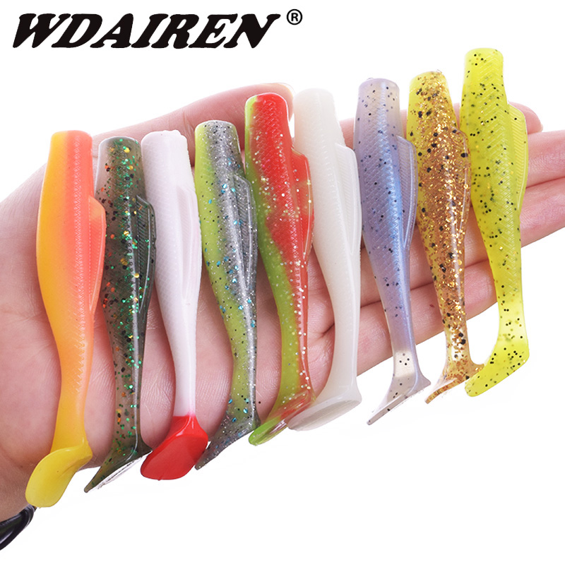 6Pcs/lot Floating Water Wobbler Fishing Lures 85mm 5g Easy Shiner Jig Swimbait High Elasticity Silicone Soft Bait Bass Lure