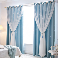 2 pcs Modern Curtains for Bedroom Window Curtain For Living Room Curtains Hollowed Out Stars Shading Curtain Drape Home Decor