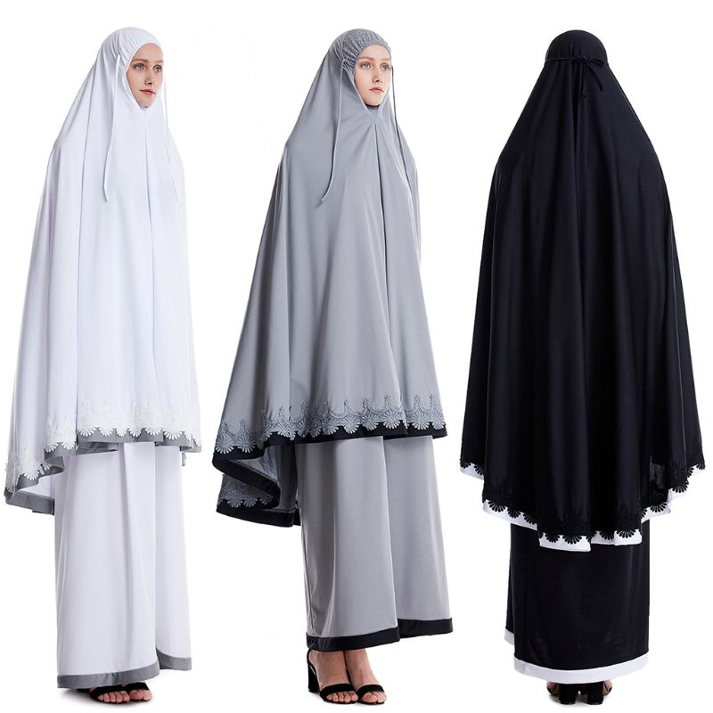 2pcs Muslim Women Robe Mosque Bat Long Sleeve Lace Hijab Festival Gown
