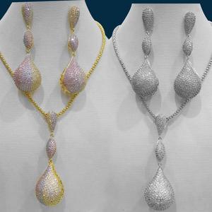 Image 1 - GODKI Luxus Disco Kugeln Cubic Zirkon Nigerian Halskette Ohrring Schmuck Sets Für Frauen Hochzeit Indischen Dubai Braut Schmuck Sets