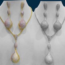 GODKI 럭셔리 디스코 공 큐빅 지 르 콘 나이지리아 목걸이 귀걸이 쥬얼리 여성을위한 결혼식 인도 두바이 신부 보석 세트