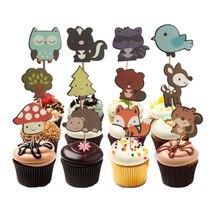 24 stücke Woodland Creatures Kuchen Topper Dschungel Wald Tier Cupcake Topper für kinder Geburtstag Party Dekorationen Dessert liefert