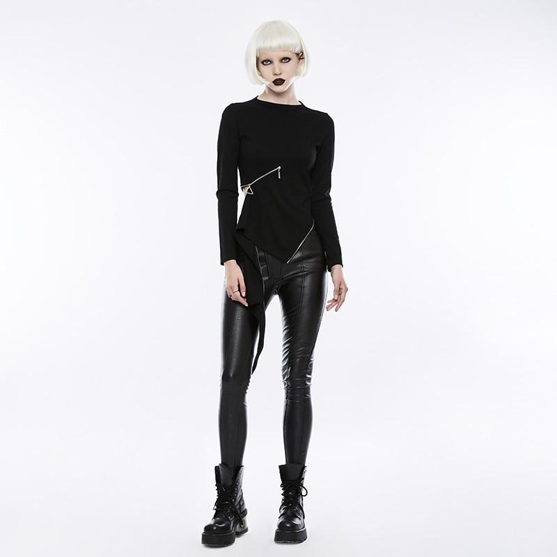 PUNK RAVE gothique taille Zipper col montant hauts noirs Stretch tricoté femmes Punk Rock T-shirt à manches longues Crop hauts chemise - 4