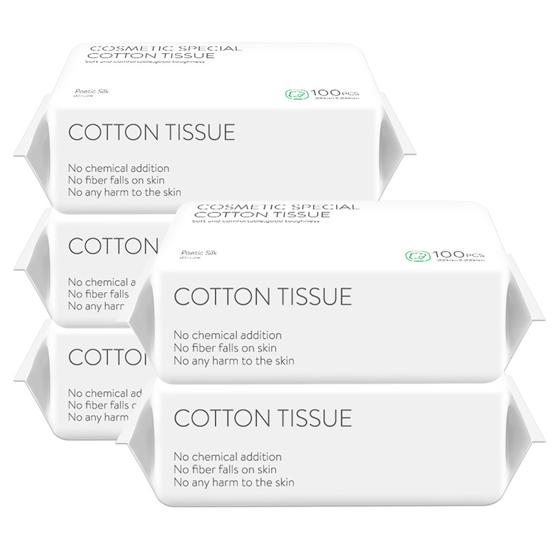 100Pcs/Box Soft Cotton Disposable Facial Towels Face Eye Makeup Remover Tissue Baby For Sensitive Skin(5 Pack)