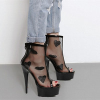 Ankle Sandals Shoes Woman Thin High Heels Fashion Platform Pole Dance Shoes Mesh Open Toe High Quality Lady Street Heels Female