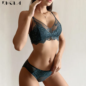 Image 1 - New Top Green Bra Panties Set Embroidery Lingerie Lace Brassiere Wire Free Plus Size Women Underwear Sets Sexy Bras Thin Cotton