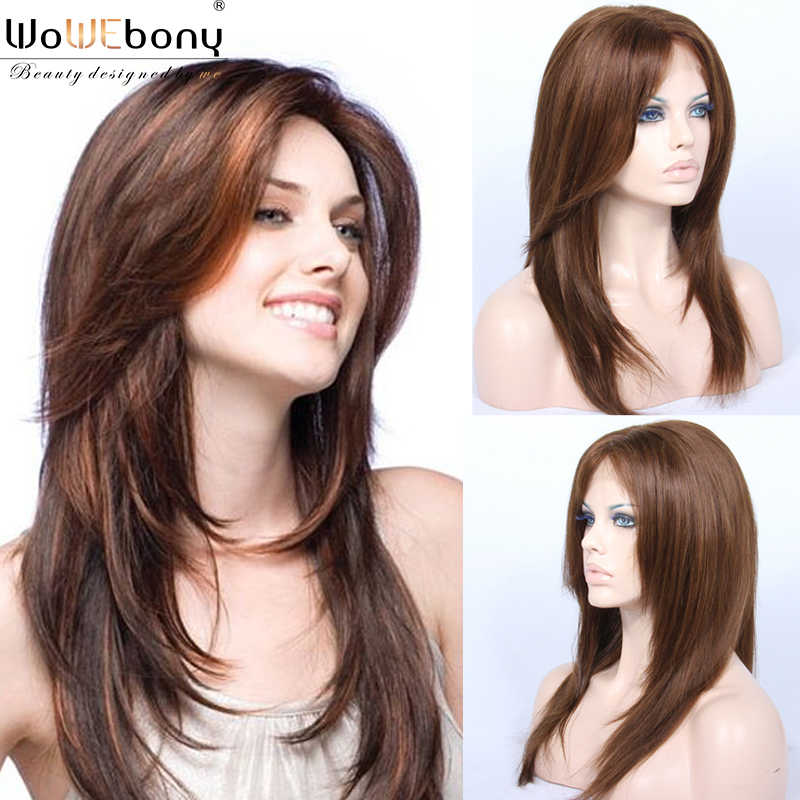 "Star Style Lace Part Front Human Hair Wigs Light Brown 150 Density Straight Hair Wig Brazilian Remy 4"" Lace Part Pre Plucked"