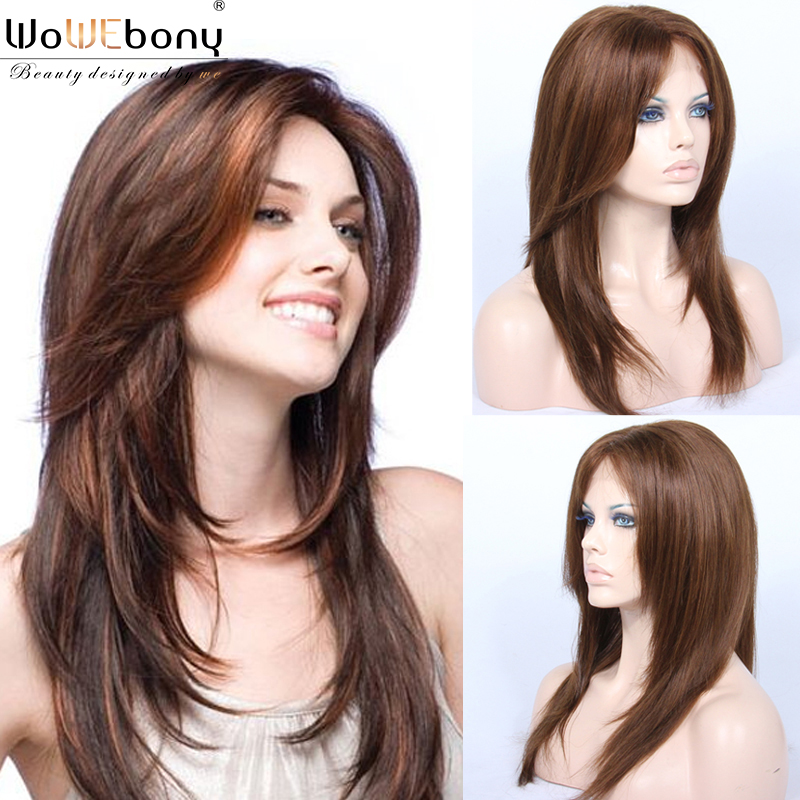 Star Style Lace Part Front Human Hair Wigs Light Brown 150 Density Straight Hair Wig Brazilian Remy 4