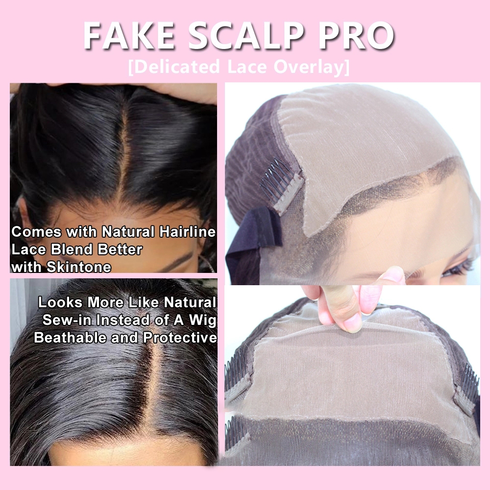Fake-Scalp-Wig-13x6-Lace-Front-Invisible-Knot-Wig-Bleached-Knots-Pre-Plucked-Lace-Front-Human