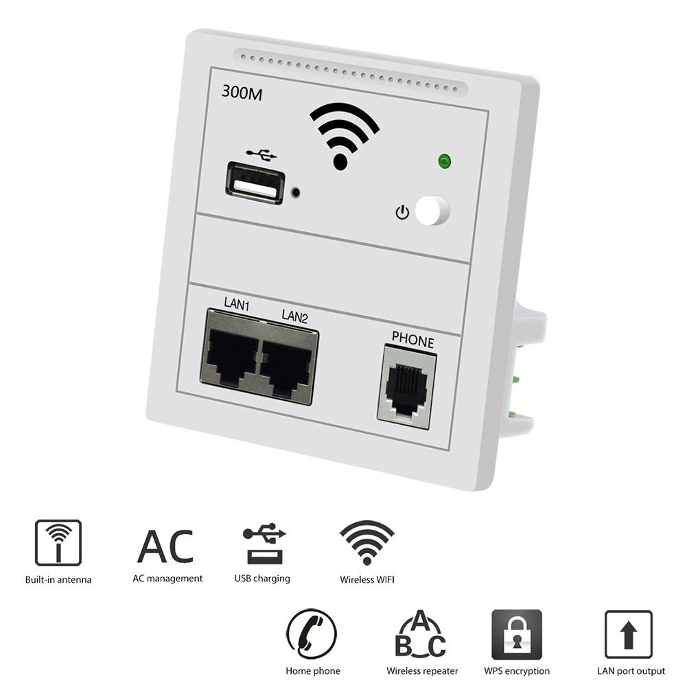 300Mbps In Wifi AP Repeater WiFi-<font><b>Steckdose</b></font> Router Access Point wifi Repeater AP RJ45 220V PoE WiFi extender <font><b>USB</b></font> Chargin Router image