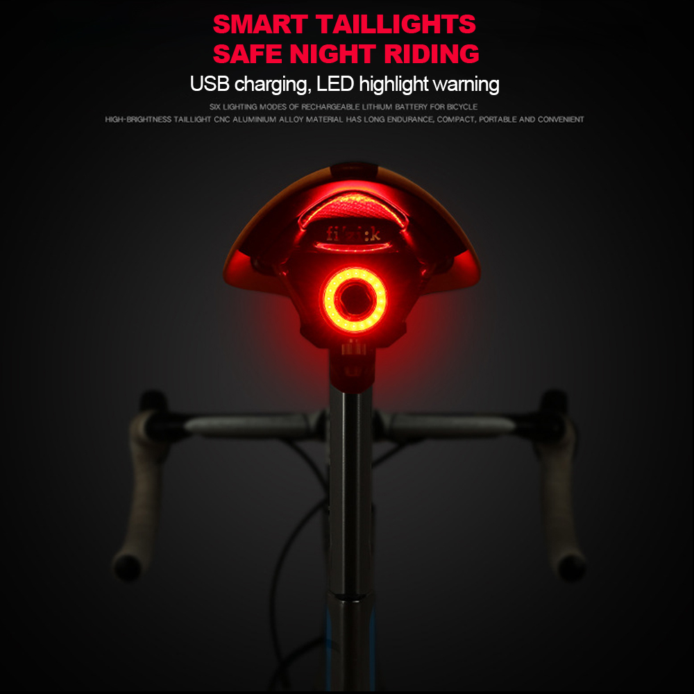 Warning Signal LED Bike Rear Light Sensor Intelligent Cycling Saddle Taillight