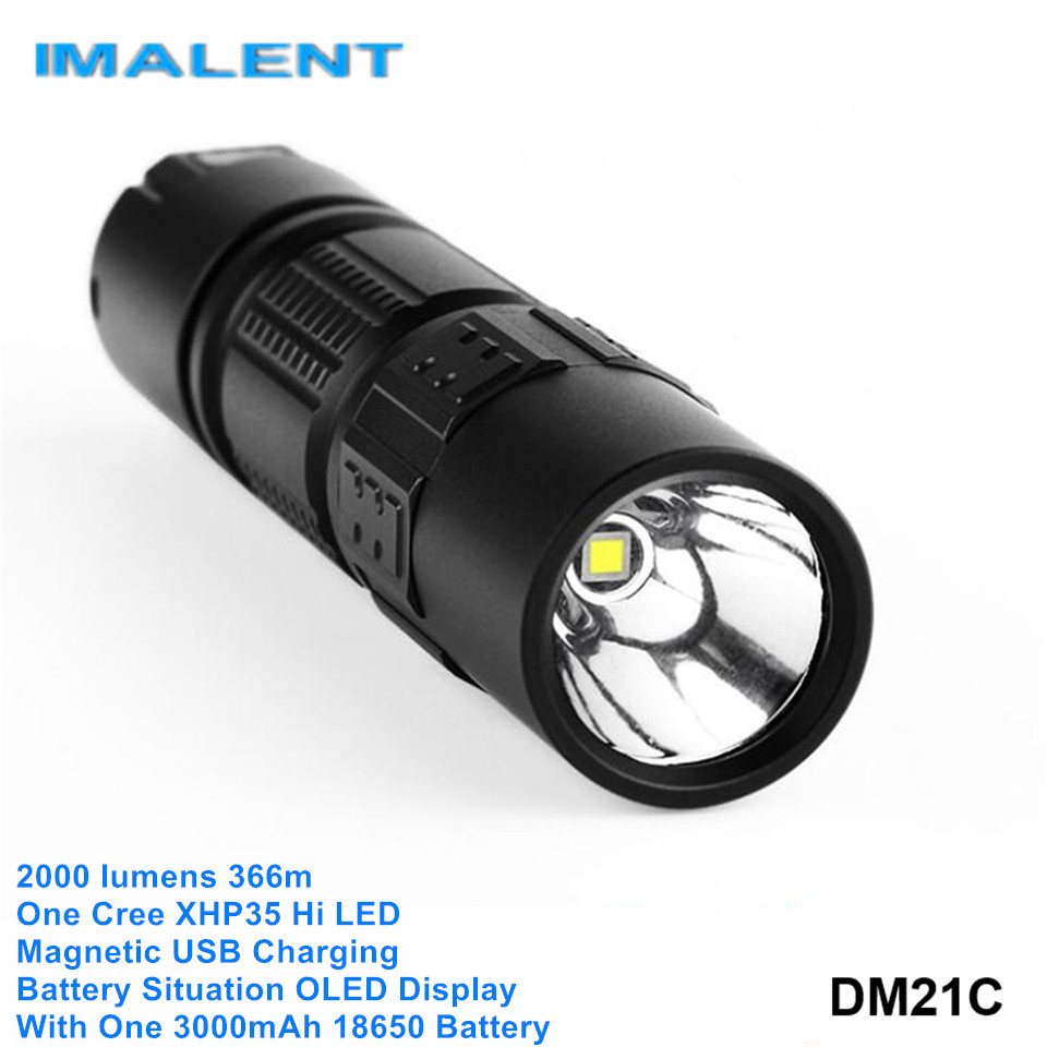 Imalent DM21C 18650 XHP35 Hi Cree LED High Power Lantern Magnetic USB Rechargeable Flashlight Shocker With Battery OLED Display