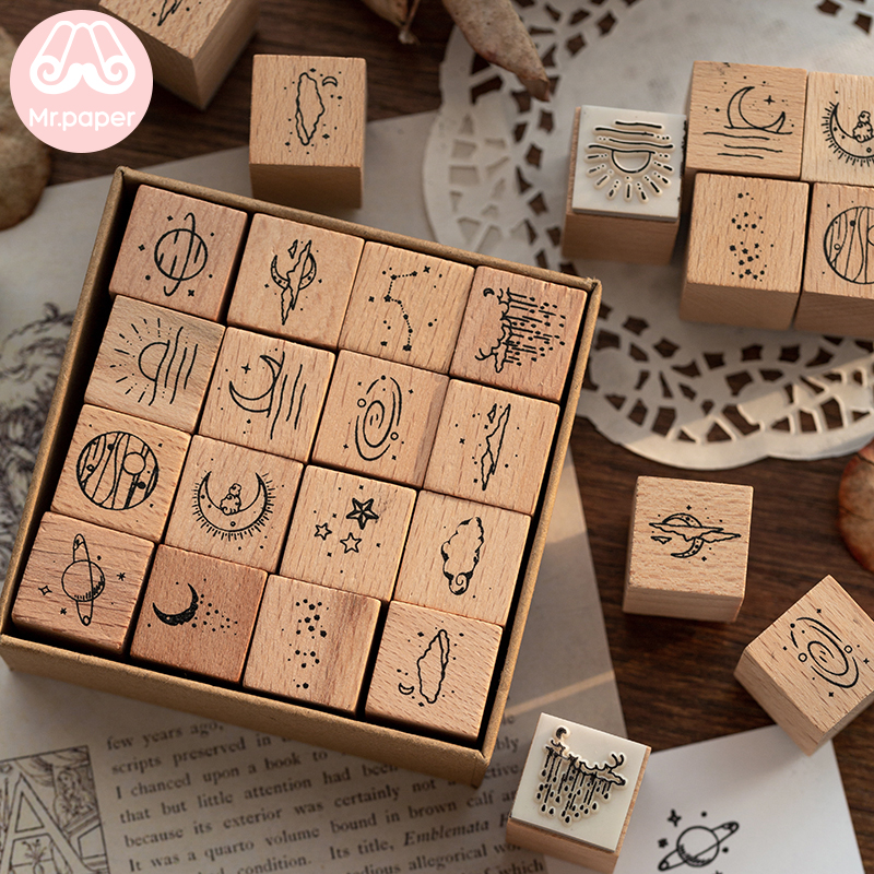 Mr Paper 16pcs/pack The Moon And Sixpence Series Seal Wooden Rubber Stamps For Scrapbooking Deco Craft Planet Star Wooden Stamps