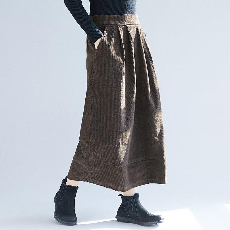 Retro Women Loose Cotton Elastic Waist Skirt Ladies Irregular Pockets Long Corduroy Skirts Student Girls Winter Clothing