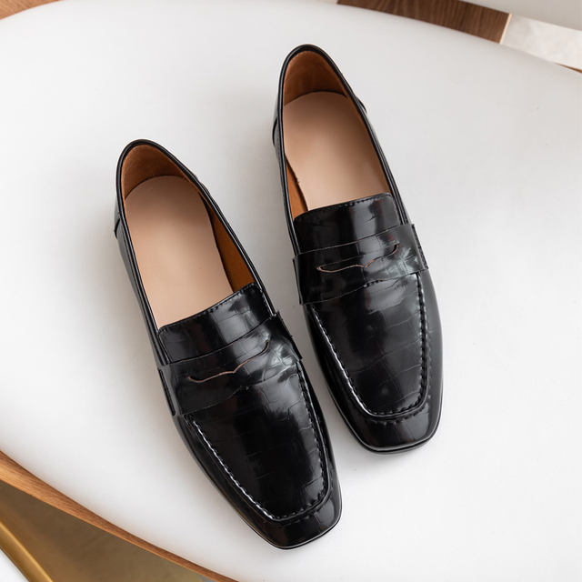 Donna in Genuine Leather Loafers Flats Women Shoes Black Brown Slip on Crocodile Pattern Moccasins Casual