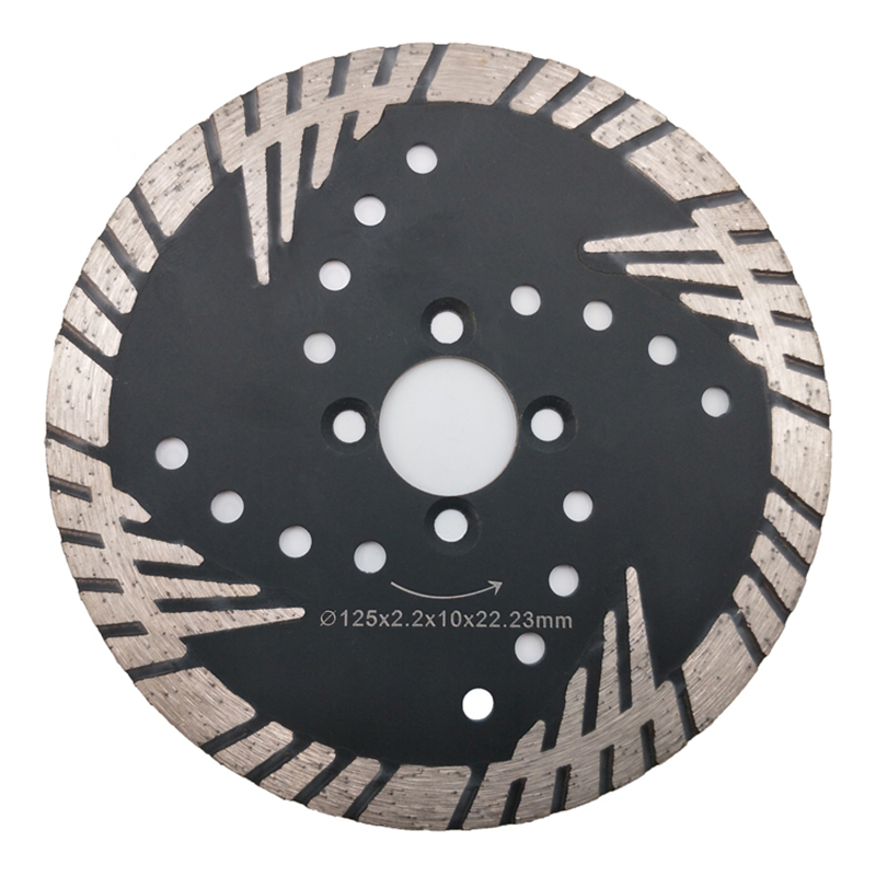DB59 Protective Teeth Diamond Cutting Disc 5 Inch D125mm Sintered Turbo Continuous Rim Disk Granite Cutting Blades 10PCS
