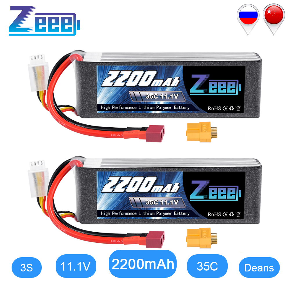 2units Zeee 2200mAh 3S 11.1V 35C LiPo Battery With Deans Plug XT60 Connector For RC Quadcopter Drone Boat Airpplane