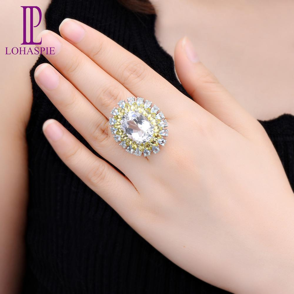 LP Engagement Ring Jewelry Stone Topaz Quartz 925-Sterling-Silver Natural Fine Solid