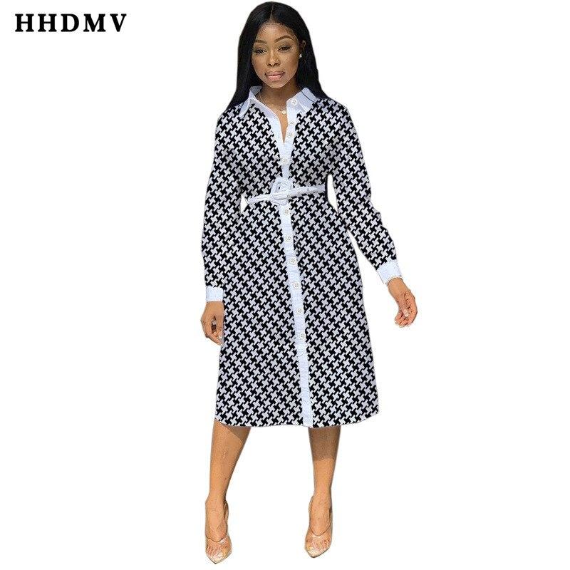 HHDMV CY8125 elegant tooling style dresses long sleeve lapel single-breasted dresses sashes plaid black knee-length dresses