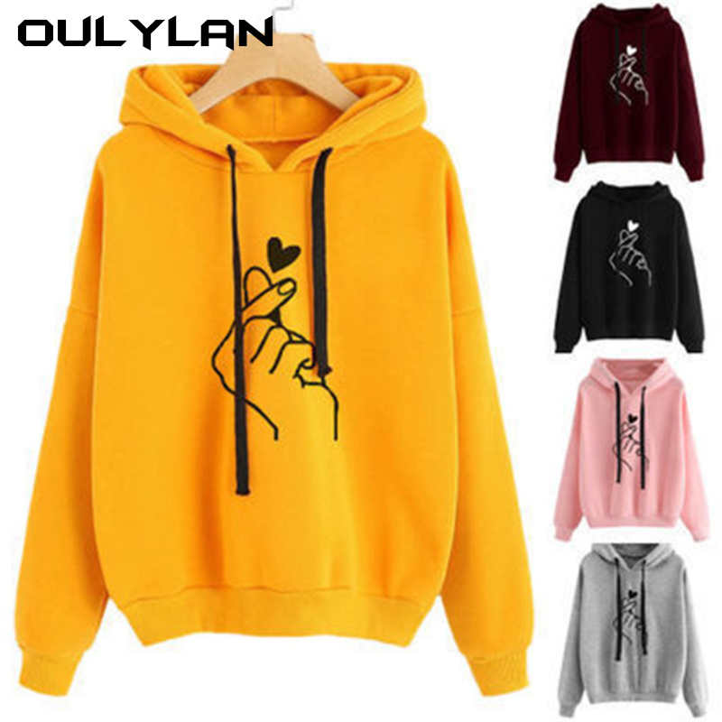 Oulylan Harajuku Women's Sweatshirt Ladies Hoody Pop Love Heart Finger Hood Casual Print Refill Hoodies Girls
