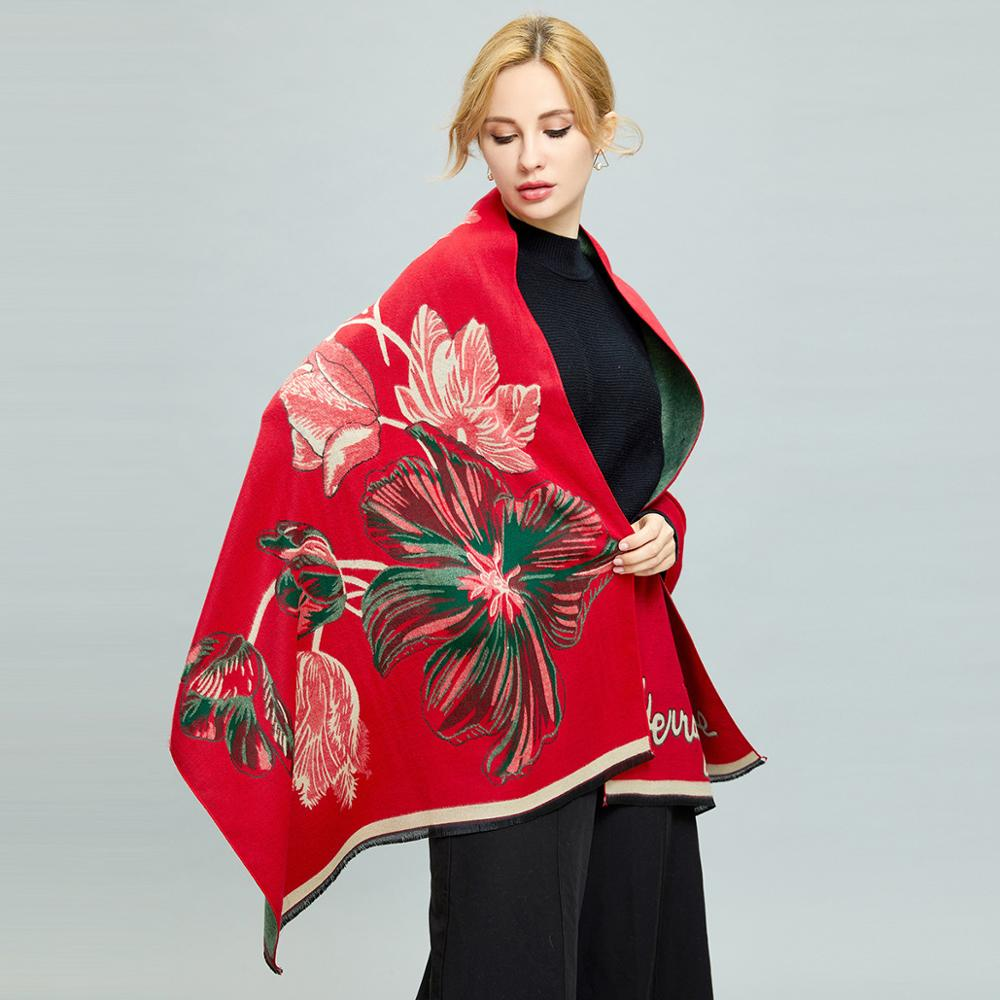 Winter Thicker Foulard Femme Cashmere Scarf Tulip National Scarf For Ladies Warm Cashmere Shawls Poncho And Capes Girl' Scarf