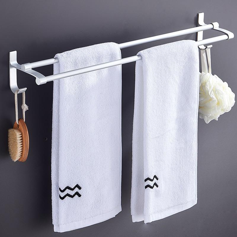 Bathroom Towel Rack Hole Punched Alumimum Double Poles Towel Bar Bathroom With Hook Storage Shelf
