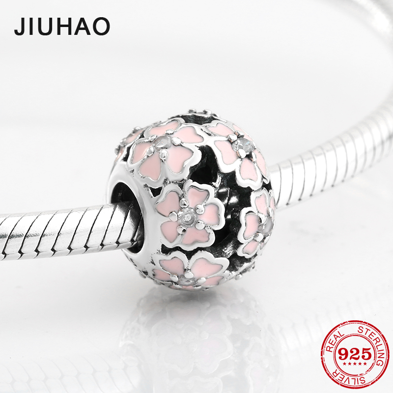 Fashion 925 Sterling Silver Exquisite Pink Enamel Flower Zircon Beads Fit Original Pandora Charm Bracelet Jewelry Making