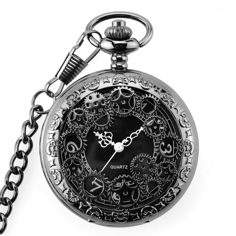 Retro Bronze Pocket Watches With Chain Steampunk Skeleton Mens Pocket Watch  Pointer Ancient Memorial Clock Mens Pocket Watch