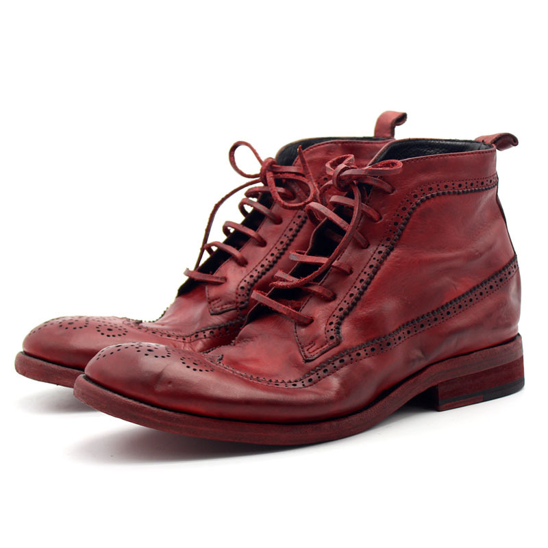 100% Cowhide Leather Mens Boots Runway Luxury Handmade High Quality Retro Red Masculine Boot Lace Up Safety Shoes Men Plus Size