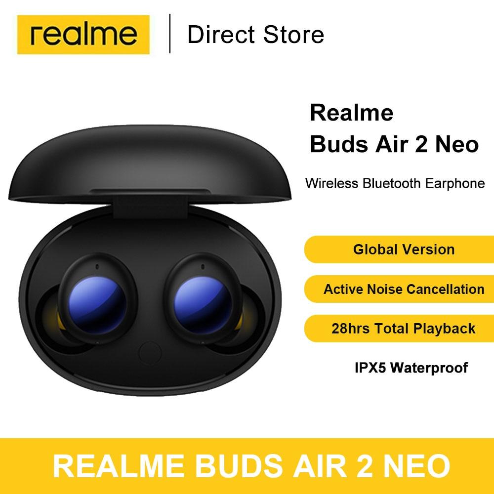 Realme бутоны Air 2 Neo наушники-вкладыши TWS с Беспроводной Bluetooth 5,2 наушники Шум отмена IPX5 10 мм басов драйвер Быстрая зарядка
