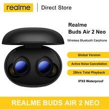 Realme botões ar 2 neo tws sem fio bluetooth 5.2 fones de ouvido cancelamento ruído ipx5 10mm baixo impulso driver carga rápida