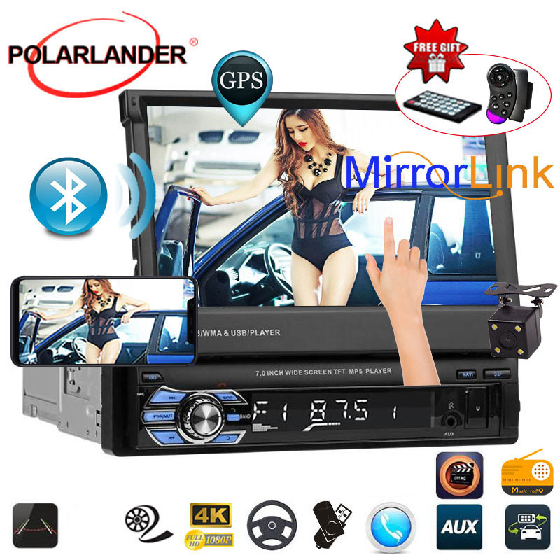 "1 din 7"" Universal Car Radio GPS Navigation Autoradio Video Player Bluetooth Retractable Touch Screen MP5 Stereo Audio Mirring"