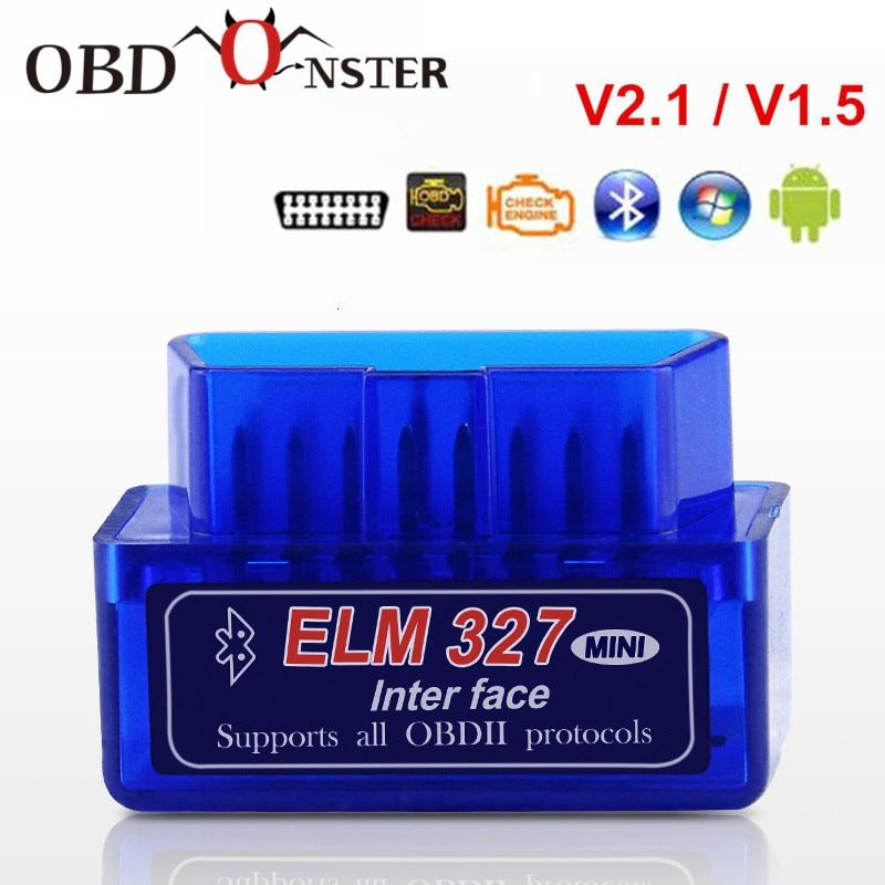 Super Mini ELM327 Bluetooth V2.1/ V1.5 OBD2 Car Diagnostic Tool ELM 327 Bluetooth2.0 For Android/ Windows PC Full OBDII Protocol