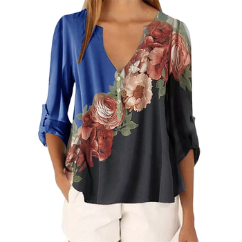 Floral Printed Blouses Sexy V neck Summer Womens Tops 3/4 Bell Sleeve Casual Loose Ladies Tops Female Plus Size 5XL Streetwear цена 2017