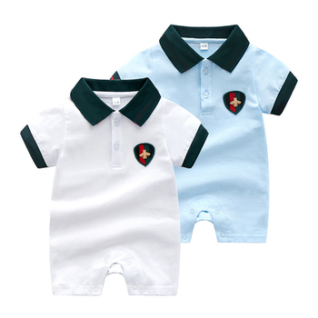 summer new born baby boy romper short sleeves cotton Patchwork crawling newborns baby girl clothes 3 6 9 12 months image