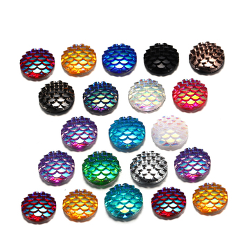 50Pcs 12mm Resin Flat Back Cabochons Mermaid Fish Scale Shape Cabochon For Diy Jewelry Making Finding Supplies Pendants Bracelet 50pcs lots cute fly horse flat back resin diy craft supplies for bow center decoration unicorn button earring jewelry ornament