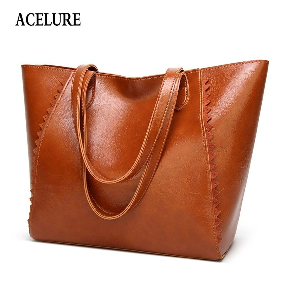 ACELURE Large-capacity Women's Handbag Casual Totes Women Bag Simple Shopping Big Shoulder Bag For Women Classic Oil Wax Leather