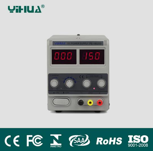 Free Shipping 220V YIHUA 1502DD 15V 2A Adjustable DC Power Supply LED Display Mobile phone repair test regulated power supply