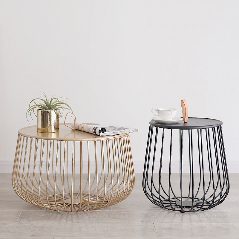 Multi-Functional Tea Table Detachable Iron Art Storage Basket Small Apartment Living Room Bedroom Decorative Sofa Side Table